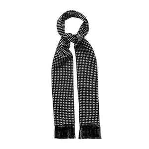 Black Silk Polka Dot Fringe Scarf
