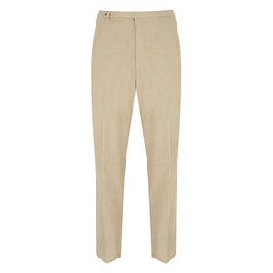 Beige Washed Cotton Needlecord Trousers