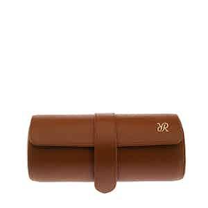 Tan Leather Triple Watch Roll
