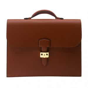 Tan Full-Grained Leather Briefcase