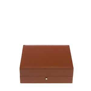 Tan Leather and Velvet Cufflink Box