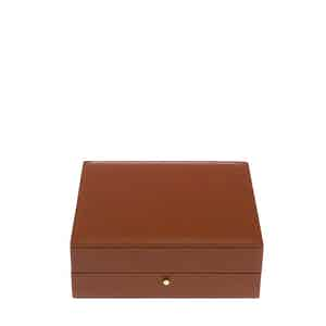 Tan Leather and Velvet Cufflink Box