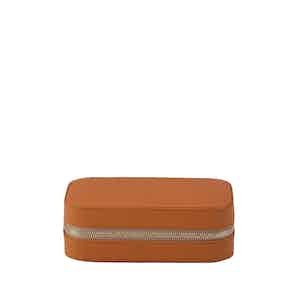 Tan Leather Hyde Park Double Watch Divider Zip Case