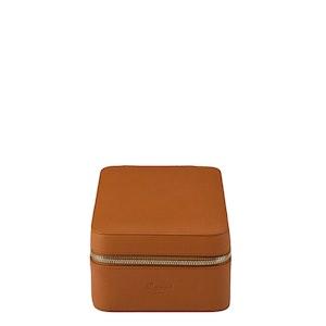 Tan Leather Hyde Park Four Watch Zip Case