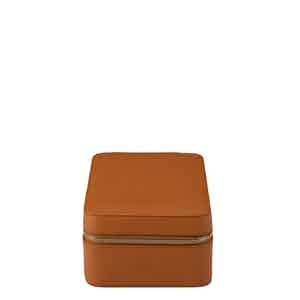 Tan Leather Hyde Park Four Watch Zip Case