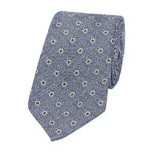 Blue Shantung Silk Flower Ten Fold Tie