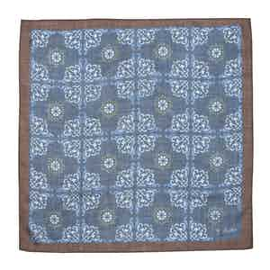 Blue Wool Foulard Ceramic Pocket Square
