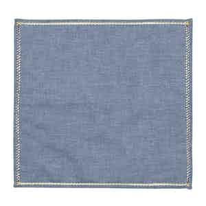 Denim Chambray Cotton Zig Zag Pocket Square