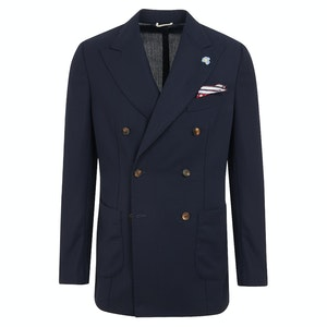 Tropical Blue Wool Double-Breasted Jacket