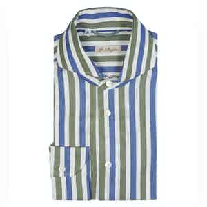 Green and Blue Cotton Archive Stripe Shirt