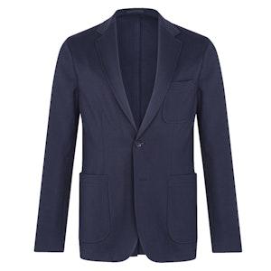 Navy Cotton Jersey Single-Breasted Patch Pocket Jacket