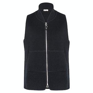 Navy Wool Drop-Back Car Vest