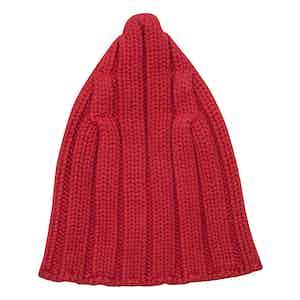 Red Cashmere and Merino Chunky Rib Beanie