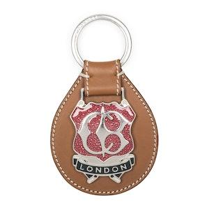 Tan Leather Enamel Key Ring