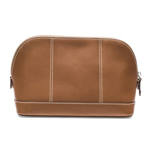 Tan Leather Large Washbag