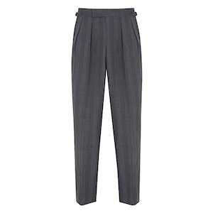 Grey Prince of Wales Check Wool Aleks Trousers