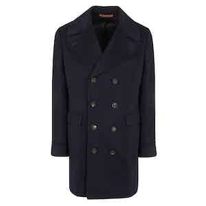 Navy Loro Piana Wool Double-Breasted Urban Coat