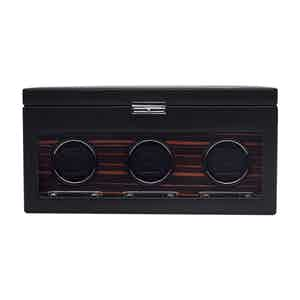 Black Vegan Leather Roadster Triple Watch Winder with Storage