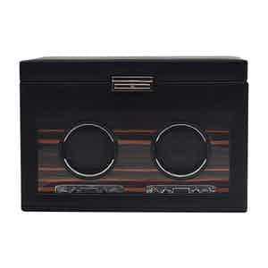 Black Vegan Leather Roadster Two-Piece Watch Winder