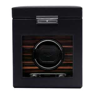 Black Vegan Leather Roadster Single Watch Winder with Storage