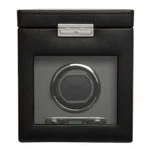 Black Vegan Leather Viceroy Single Watch Winder with Storage