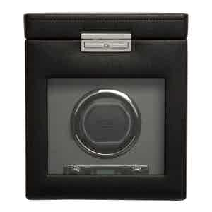 Black Vegan Leather Viceroy Single Watch Winder with Storage