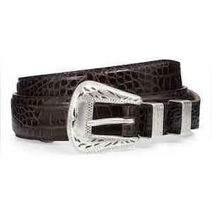 Dark Brown Printed Crocodile Palladium Belt