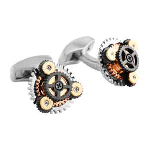 Rhodium-Plated Layered Gear Cufflinks