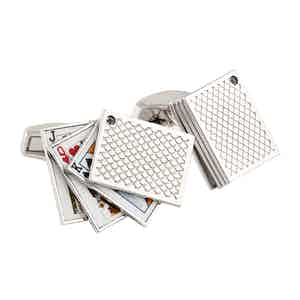 Rhodium-Plated Rotating Playing Card Cufflinks