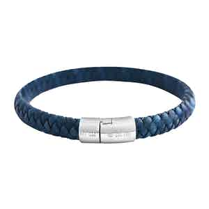 Blue Leather and Silver Cobra Braided Bracelet