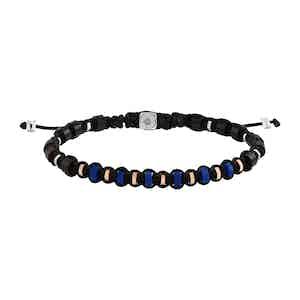 Lapis and Silver Macrame Bracelet