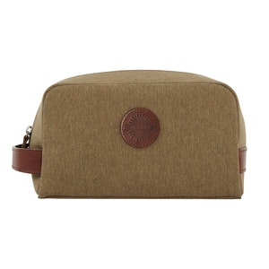 Moss Green Leather and Cotton Canvas Wash Bag