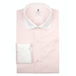 Pink Cotton Contrast Cuffs Shirt