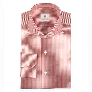 Red Cotton Stripe Dandy Shirt