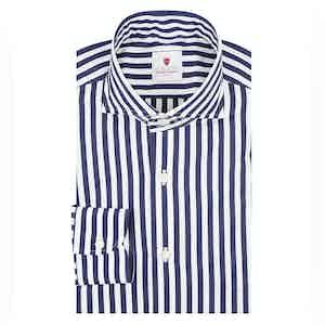 Navy and White Cotton Stripe Dandy Shirt