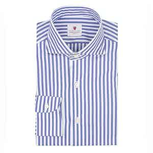 Azure and White Cotton Stripe Dandy Shirt