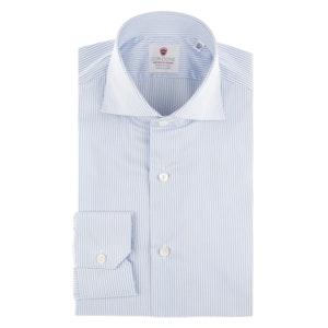 White and Azure Cotton Shirt