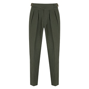 Green Linen Manny Trousers