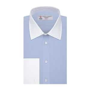 Light-Blue Cotton Contrast Collar Double-Cuff Shirt