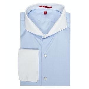 Blue Cutaway Collar Cotton Shirt