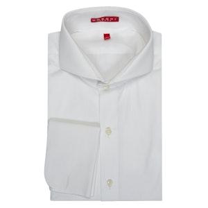 White Cutaway Collar Cotton Shirt