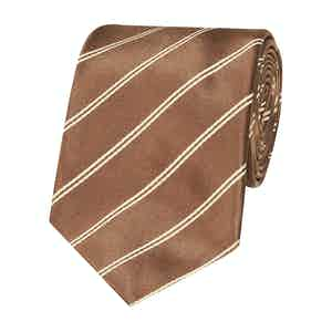 Chocolate Mogador Stripe Silk Tie