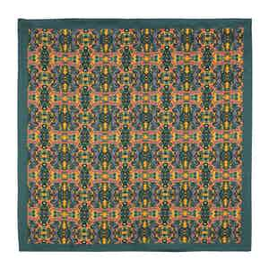 Green and Mustard Silk Labyrinth Pocket Square