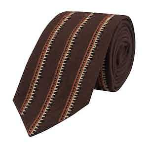 Brown Cotton Embroidered Oribi Tie