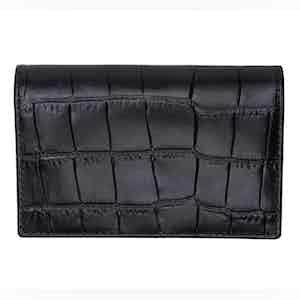 Ebony Crocodile Effect Leather Card Case