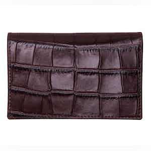 Mahogany Crocodile Effect Leather Card Case