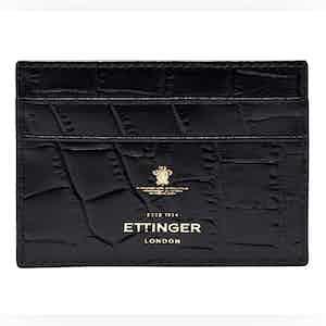 Ebony Crocodile Effect Leather Cardholder