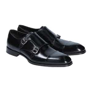Black Leather Doppia Monk Strap Brogues