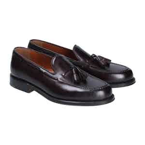 Burgundy Leather Brighton Tassel Loafers