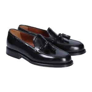 Black Leather Brighton Tassel Loafers